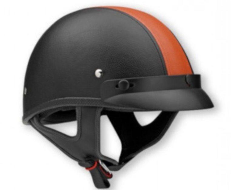 Шлем (открытый с козырьком) NТ-200 (XTS) Кожа Stripe оранжевый/черный L
